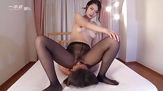 Ako Nishino face housebound - japan jav uncensored pantyhose nylon handjob lap
