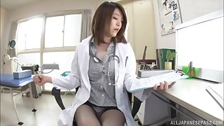 Naughty Japanese doctor drops her panties almost be fucked hard
