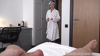Sweet Asian nympho walks around the house barren together with she loves anal sex