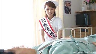 Asian nurse Shiina Sora enjoys getting fucked on the bed. HD