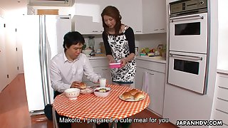 Japanese housewife Yoshioka Nanako provides her man with a great blowjob