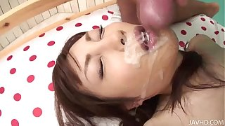 Adorable Kana Miura on her knees being skull fucked