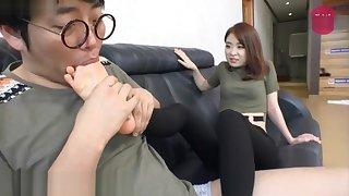 Korean foot femdom mistress's feet look up to