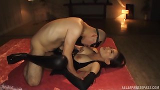 Pulchritudinous Japanese submissive lets Master do as he wishes